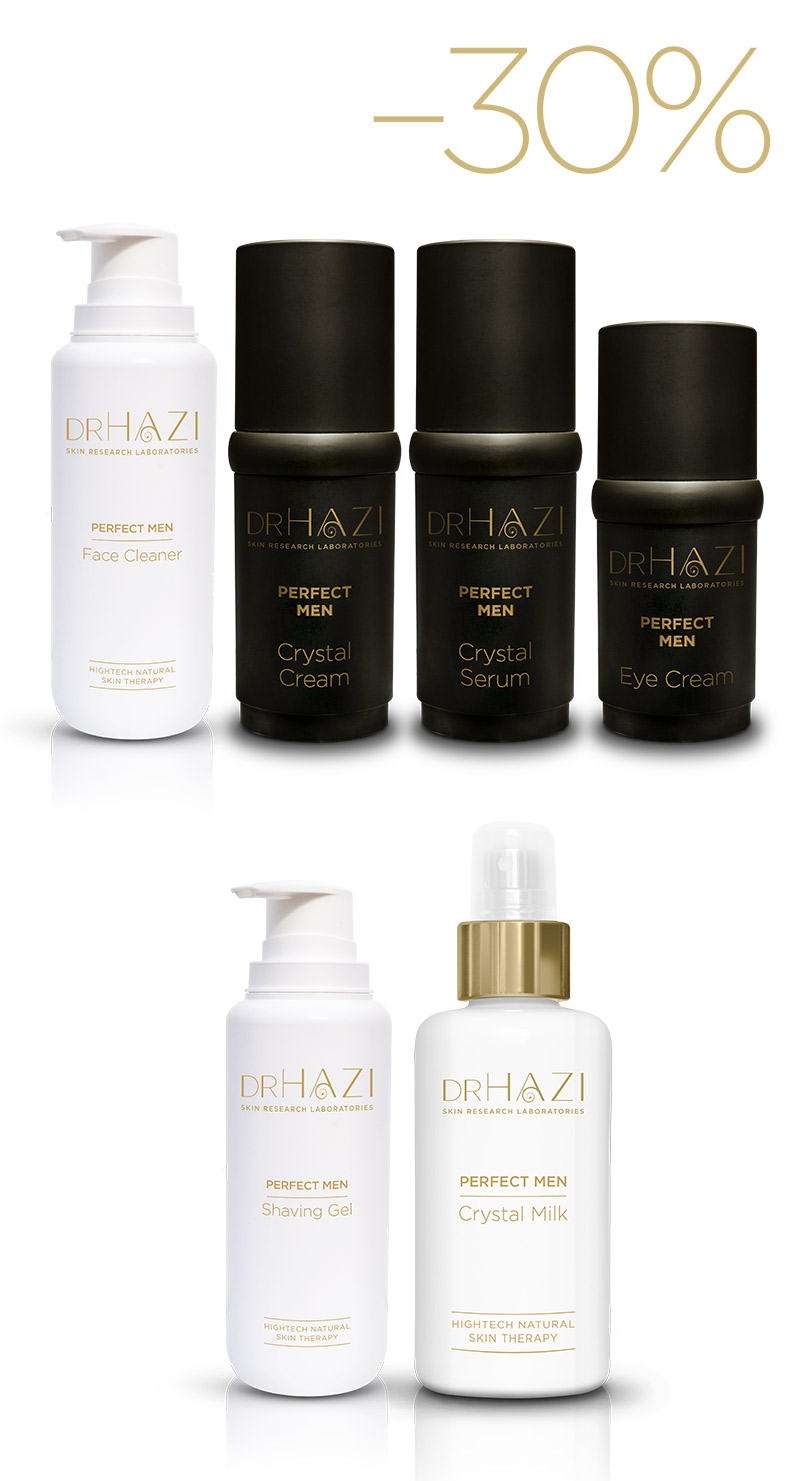 LUXURY men skin rejuvenation with nanopeptides and crystals Férfi Luxus Kezelési sor